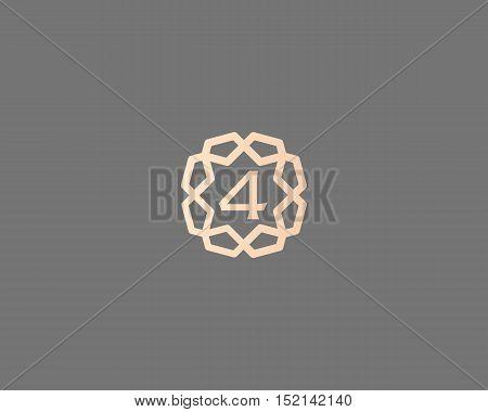 Premium number 4 logo icon vector design. Luxury jewelry frame gem edge logotype. Print figure stamp sign symbol