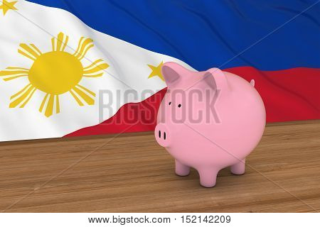 Philippines Finance Concept - Piggybank In Front Of Filipino Flag 3D Illustration