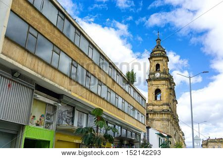 BOGOTA COLOMBIA - APRIL 21: View of the cathedral in Bogota Colombia as seen from the street on April 21 2016