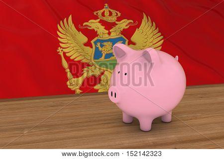 Montenegro Finance Concept - Piggybank In Front Of Montenegrin Flag 3D Illustration