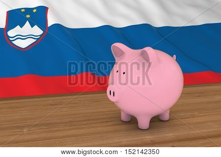 Slovenia Finance Concept - Piggybank In Front Of Slovenian Flag 3D Illustration