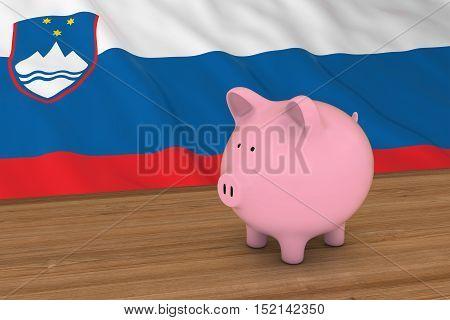 Slovenia Finance Concept - Piggybank In Front Of Slovenian Flag 3D Illustration