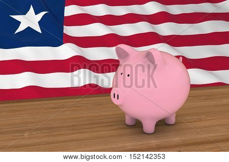 Liberia Finance Concept - Piggybank In Front Of Liberian Flag 3D Illustration