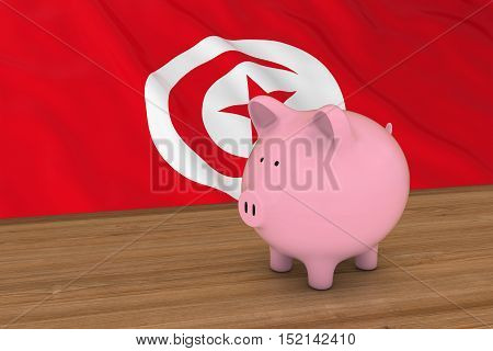Tunisia Finance Concept - Piggybank In Front Of Tunisian Flag 3D Illustration
