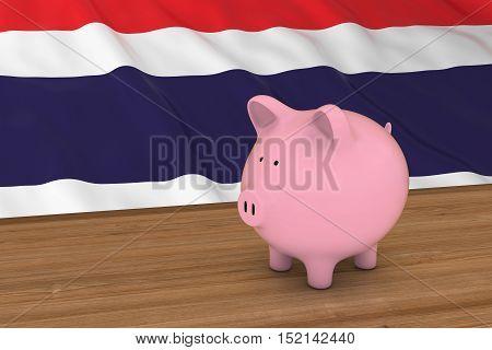 Thailand Finance Concept - Piggybank In Front Of Thai Flag 3D Illustration
