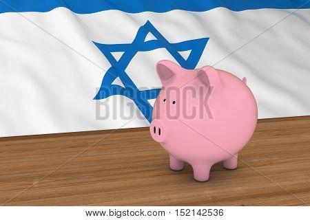 Israel Finance Concept - Piggybank In Front Of Israeli Flag 3D Illustration
