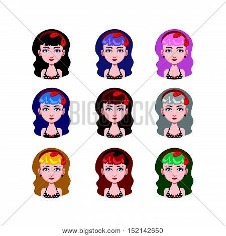 Girl With Rockabilly Style - 9 Different Hair Colors