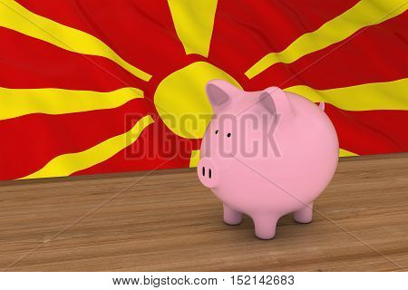 Macedonia Finance Concept - Piggybank In Front Of Macedonian Flag 3D Illustration