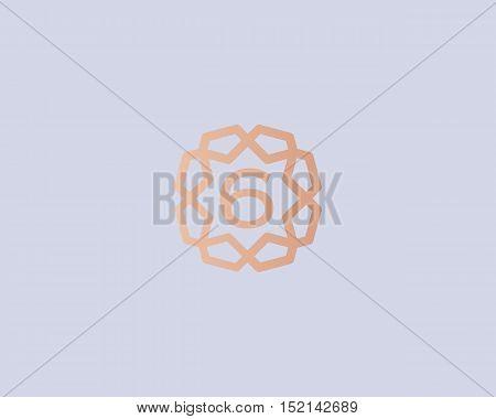 Premium number 6 logo icon vector design. Luxury jewelry frame gem edge logotype. Print figure stamp sign symbol