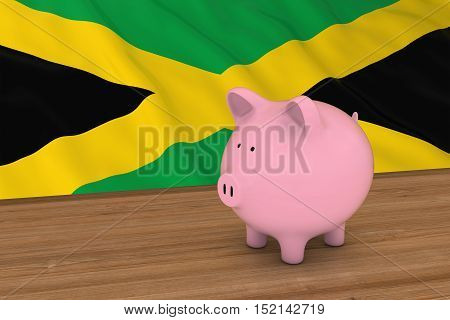 Jamaica Finance Concept - Piggybank In Front Of Jamaican Flag 3D Illustration