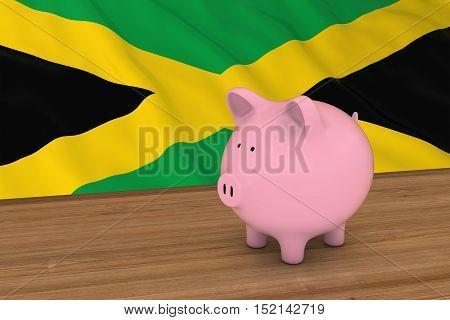 Jamaica Finance Concept - Piggybank In Front Of Jamaican Flag 3D Illustration