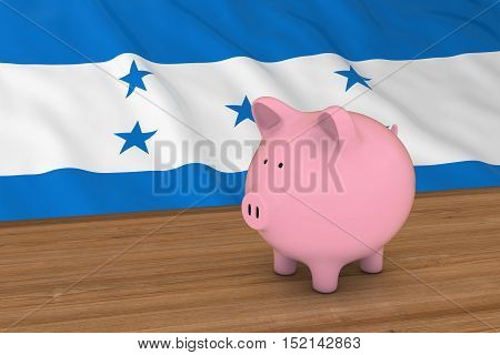 Honduras Finance Concept - Piggybank In Front Of Honduran Flag 3D Illustration