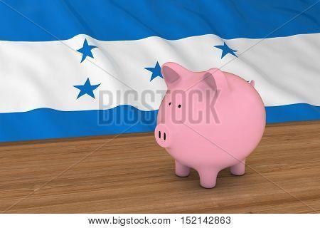 Honduras Finance Concept - Piggybank In Front Of Honduran Flag 3D Illustration