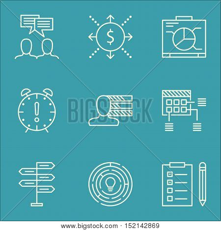 Set Of Project Management Icons On Time Management, Reminder And Board Topics. Editable Vector Illus