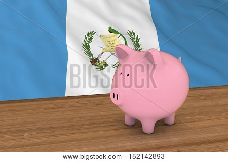 Guatemala Finance Concept - Piggybank In Front Of Guatemalan Flag 3D Illustration