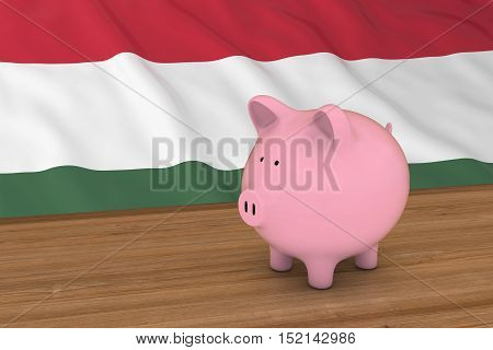 Hungary Finance Concept - Piggybank In Front Of Hungarian Flag 3D Illustration