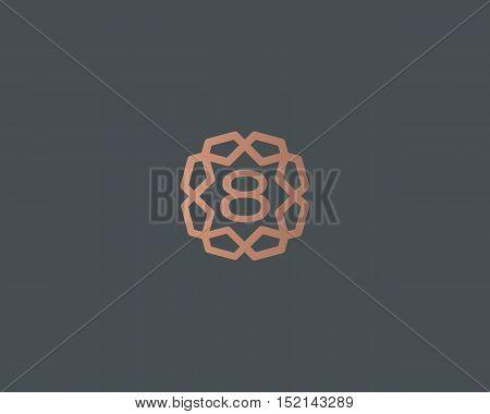Premium number 8 logo icon vector design. Luxury jewelry frame gem edge logotype. Print figure stamp sign symbol