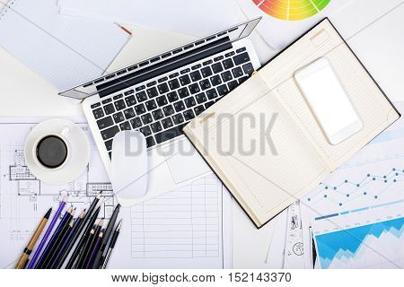 Office Desktop With Technology And Supplies