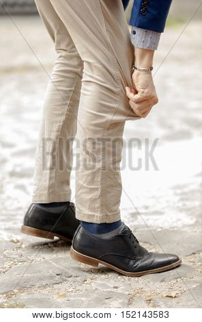 Fashion long or short mans pants shoes