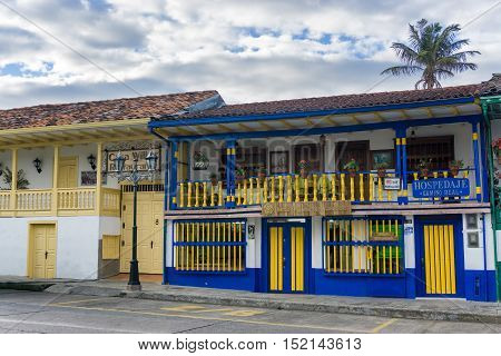 SALENTO COLOMBIA - JUNE 6: Colonial buildings on the main plaza in Salento Colombia on June 6 2016