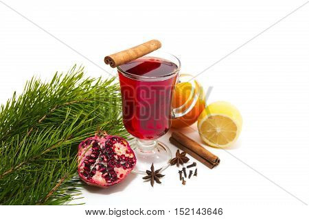Mulled Wine With Spices On A Table Isolated