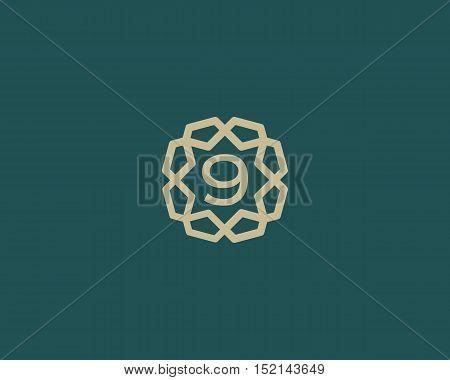 Premium number 9 logo icon vector design. Luxury jewelry frame gem edge logotype. Print figure stamp sign symbol