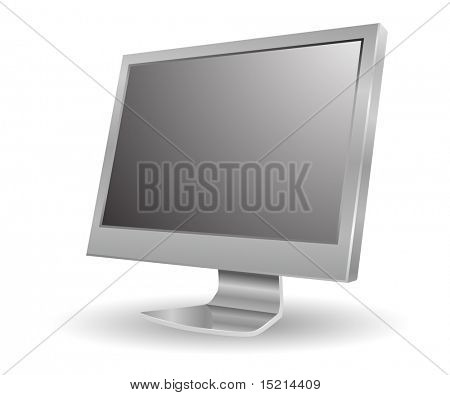 gray 3d computer monitor icon