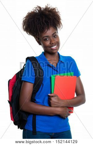 Happy african american female student with backpack in colorful style on an isolated white background for cut out