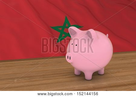 Morocco Finance Concept - Piggybank In Front Of Moroccan Flag 3D Illustration
