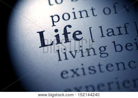 Fake Dictionary definition of the word life.