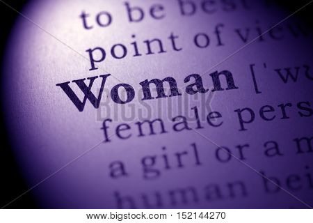 Fake Dictionary definition of the word woman.
