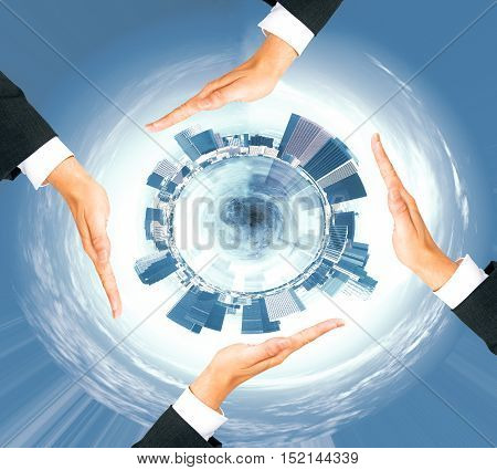 Four businessman hands around abstract circular cityscape