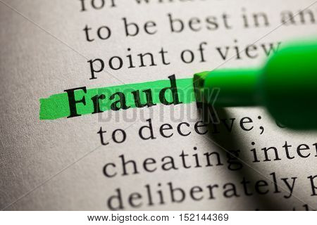 Fake Dictionary definition of the word fraud.