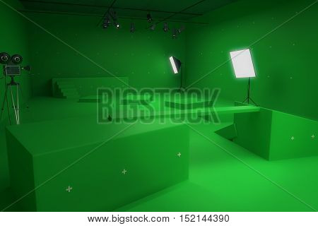Modern green photo studio with old style movie camera and professional lighting equipment. Side view 3D Rendering