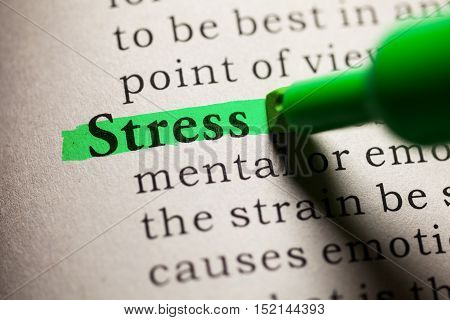 Fake Dictionary definition of the word stress.