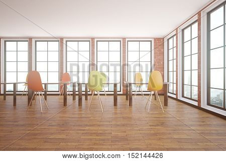 Red brick interior with wooden floor windows with city view and tables with chairs. Classroom concept. 3D Rendering
