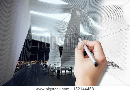 Male hand drawing spacious unfinished room plan. 3D Rendering