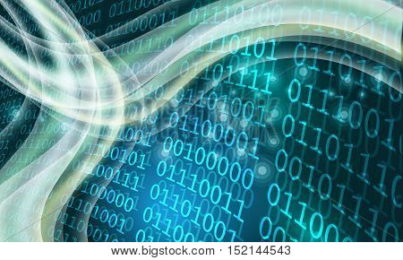 Futuristic abstract background and binary code and waves