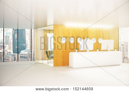 Modern office reception with city view. 3D Rendering
