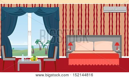 The interior of resort hotel room with furniture and outlet to the sea. Vector illustration in flat style