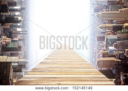 Wooden walkway on abstract rotated to the side city background. Success concept. 3D Rendering