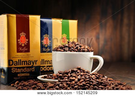 POZNAN POLAND - OCT 12 2016: Dallmayr Kaffee one of the best-known coffee brands in Germany is a product of Alois Dallmayr the largest delicatessen business in Europe headquartered in Munich.