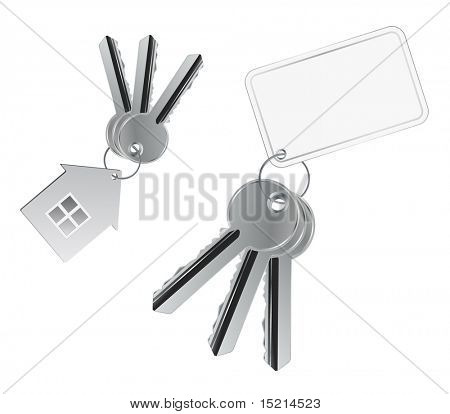 metal keys with tag