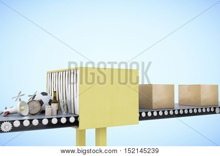 Mail conveyor on light blue background. Packaging service and parcel transportation system concept. 3D Rendering