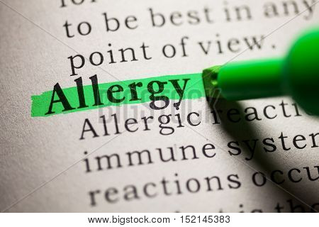 Fake Dictionary definition of the word Allergy.