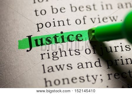 Fake Dictionary definition of the word justice.