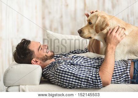 labrador lying on its bachelor owner on a soft couch