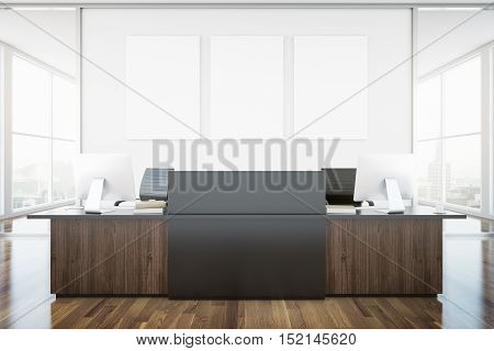 Wooden brown reception desk and blank banner in interior with city view. Mock up 3D Rendering
