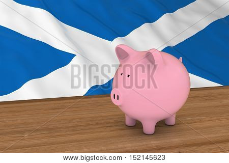 Scotland Finance Concept - Piggybank In Front Of Scottish Flag 3D Illustration