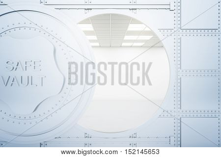 Open bank vault. Safety concept. 3D Rendering